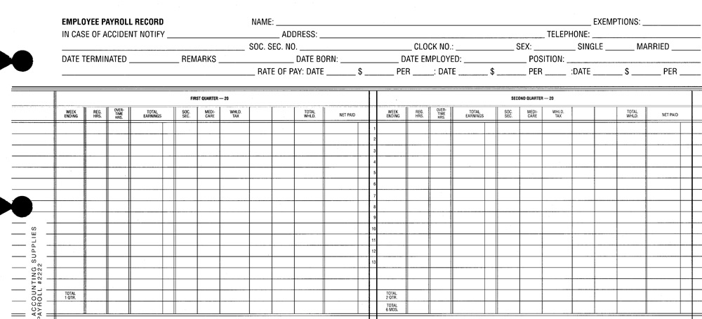payroll sheets for post binders - two years 2222