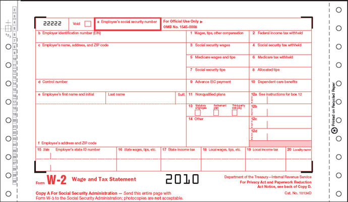 W-2 6-Part Continuous Form One-Wide
